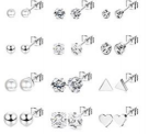 12Pairs Stud Earrings Set Stainless Steel Earrings for Women Men Discount 50% coupon code off Amazon