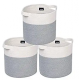 Cotton Rope Basket Bins x 3 Discount 50% coupon code off Amazon
