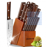 15 Pieces Stainless Steel Knife Set Discount 50% coupon code off Amazon