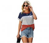Women's Cut and Sew Short Sleeve Casual Color Block Ringer Tee T-Shirt Discount 60% coupon code off Amazon