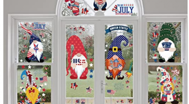 4th of July Patriotic Decorations Window Clings Stickers  Discount 50% coupon code off Amazon