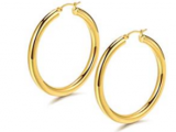 Hoop Earrings 18K Gold Plated 925 Sterling  Discount 60% coupon code off Amazon