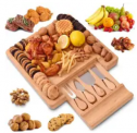 Bamboo Cheese Board and Knife Set w/ Hidden Drawer Discount 50% coupon code off Amazon