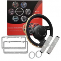 Rhinestone Steering Wheel Cover Set w/ Belt Pads & License Plate Discount 50% coupon code off Amazon