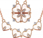 Four Leaf Clover Rose Goldtone Heart Necklace Discount 50% coupon code off Amazon