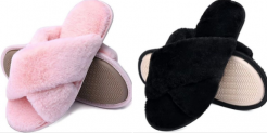 Womens-Memory-Foam-Cross-Band-House-Slippers Discount 59% coupon code off Amazon