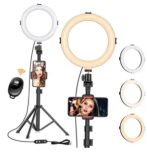 Dimmable Selfie Ring Light with Tripod Stand Discount 50% coupon code off Amazon